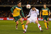 MELBOURNE, AUSTRALIA - JUNE 7: Zoran Tosic of Serbia heads the ball during an international friendly match between the Qantas Australian Socceroos and Serbia at Etihad Stadium on June 7, 2011 in Melbourne, Australia. Photo by Sydney Low / AsteriskImages.com