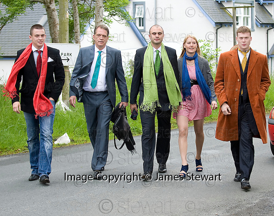 SECRET SON JOSHUA BOWLER (SECOND LEFT) ARRIVES AT TRAQUAIR KIRK, KIRKHOUSE, FOR THE MEMORIAL SERVICE FOR HIS FATHER LORD COLIN CHRISTOPHER PAGET GLENCONNER