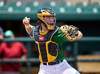 Steinbrenner Warriors catcher Tayden Hall during practice before the 42nd Annual FACA All-Star Baseball Classic on June 5, 2021 at Joker Marchant Stadium in Lakeland, Florida.  (Mike Janes/Four Seam Images)
