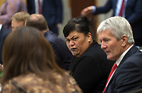 MP Nanaia Mahuta and MP Damien O'Connor. The New Zealand government holds its first cabinet meeting at Parliament in Wellington, New Zealand on Friday, November 6, 2020. Photo: Dave Lintott / lintottphoto.co.nz