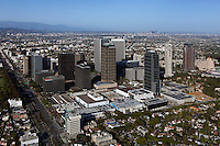 aerial photograph Century City, Los Angeles, California with downtown LA in the background