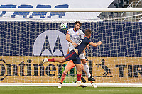 CHICAGO, UNITED STATES - AUGUST 25: Mathieu Deplagne #17 of FC Cincinnati battles with Alvaro Medran #10 of Chicago Fire during a game between FC Cincinnati and Chicago Fire at Soldier Field on August 25, 2020 in Chicago, Illinois.