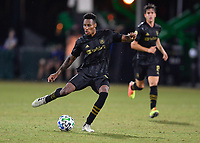 LAKE BUENA VISTA, FL - JULY 18: Mark-Anthony Kaye #14 of LAFC passes the ball during a game between Los Angeles Galaxy and Los Angeles FC at ESPN Wide World of Sports on July 18, 2020 in Lake Buena Vista, Florida.