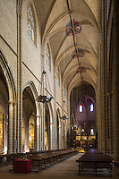 Espagne, Navarre, Pampelune,  Cathédrale Sainte-Marie de Pampelune,  la nef// Spain, Navarra, Pamplona, Pamplona Cathedral, the nave