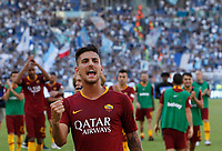 Roma's Lorenzo Pellegrini celebrates at the end of the Italian Serie A football match between Roma and Lazio at Rome's Olympic stadium, September 29, 2018. Roma won 3-1.<br /> UPDATE IMAGES PRESS/Riccardo De Luca