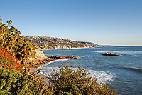 A gorgeous January day nearing sunset at the Main Beach Park, Laguna Beach, California.