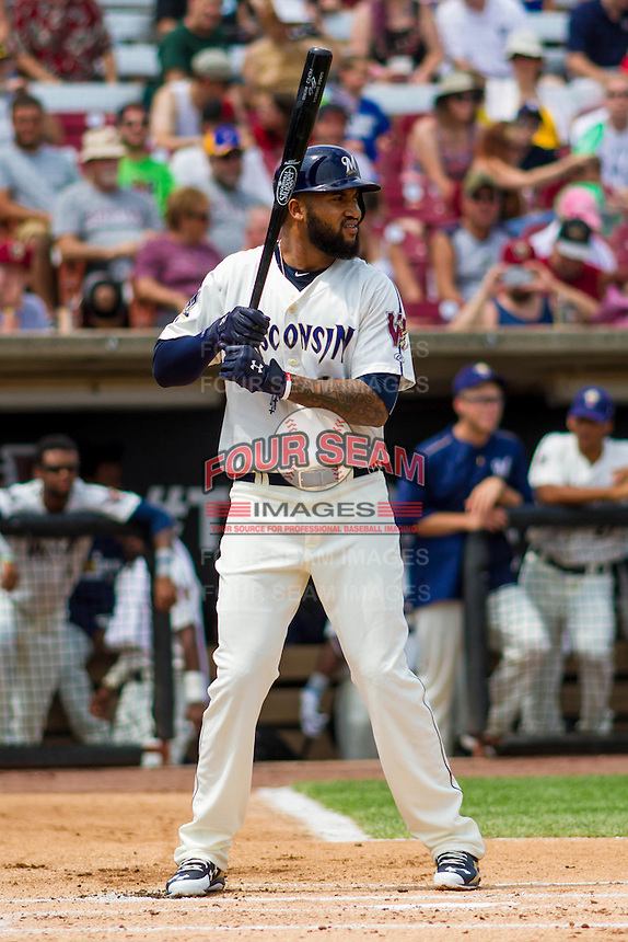 Milwaukee Brewers outfielder Domingo Santana (16) at bat during a rehab appearance with the Wisconsin Timber Rattlers in a Midwest League game against the Lake County Captains on July 24, 2016 at Fox Cities Stadium in Appleton, Wisconsin. Lake County defeated Wisconsin 6-2. (Brad Krause/Four Seam Images)
