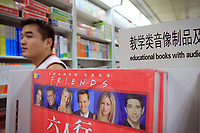 CHINA. Inside Wangfujing bookstore in central Beijing, many English books are on sale, aimed at assisting Chinese learners of the language. The rise in use of English in China is evident on the streets of Beijing where store-fronts, billboards and clothes all sport English words and phrases. 2009