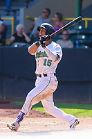Clinton LumberKings outfielder Ariel Sandoval (15) swings at a pitch during a Midwest League game against the Lansing Lugnuts on July 15, 2018 at Ashford University Field in Clinton, Iowa. Clinton defeated Lansing 6-2. (Brad Krause/Four Seam Images)