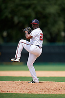 GCL Braves relief pitcher Yoeli Lopez (26) delivers a pitch during the second game of a doubleheader against the GCL Yankees West on July 30, 2018 at Champion Stadium in Kissimmee, Florida.  GCL Braves defeated GCL Yankees West 5-4.  (Mike Janes/Four Seam Images)
