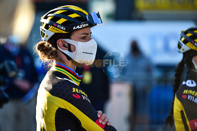 Marianne Vos (NED) Jumbo-Visma Women Cycling Team at the team presentations before the start of Liege-Bastogne-Liege Femmes 2021, running 141km from Bastogne to Liege, Belgium. 25th April 2021.  <br /> Picture: A.S.O./Gautier Demouveaux   Cyclefile<br /> <br /> All photos usage must carry mandatory copyright credit (© Cyclefile   A.S.O./Gautier Demouveaux)