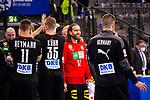 Freude nach Sieg: Silvio Heinevetter (Deutschland #12) ; und Mannschaft / EHF EURO-Qualifikation / EM-Qualifikation / Handball-Laenderspiel: Deutschland - Estland am 02.05.2021 in Stuttgart (PORSCHE Arena), Baden-Wuerttemberg, Deutschland.<br /> <br /> Foto © PIX-Sportfotos *** Foto ist honorarpflichtig! *** Auf Anfrage in hoeherer Qualitaet/Aufloesung. Belegexemplar erbeten. Veroeffentlichung ausschliesslich fuer journalistisch-publizistische Zwecke. For editorial use only.