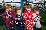 Enjoying the playground in the Tralee town park on Thursday, l to r: Ava and Anna Durran, Kate Kelly and Hannah Garvey.