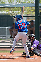 Chicago Cubs outfielder Wynton Bernard (28) during a Minor League Spring Training game against the Colorado Rockies at Sloan Park on March 27, 2018 in Mesa, Arizona. (Zachary Lucy/Four Seam Images)