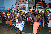 Altamira, Brazil. Kayapo chiefs beginning the dance which leads to the incident with Paulo Fernando Vieira Souto Rezende, representative of Eleltrobras.