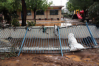 Pictured: The fence to the local nursery has collapsed.<br />