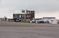 Pictured: The BBC News HD and Sky News helicopters at Swansea airport. 16 September 2011<br /> Re: Aerial photography, Swansea, south Wales.