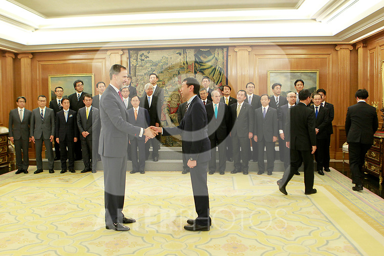 King Felipe VI of Spain receives in audience a delegation from the Japanese employer Nippon Keidanren. July 6, 2017. (ALTERPHOTOS/Acero)