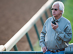 Trainer Bob Baffert at morning workouts for the 138th Kentucky Derby at Churchill Downs in Louisville, Kentucky on May 3, 2012.