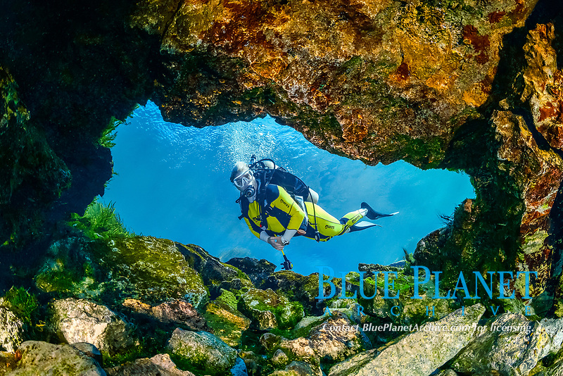 woman scuba diver, exploring a small freshwater spring in the Rainbow River, Dunnellon, Florida, USA, MR
