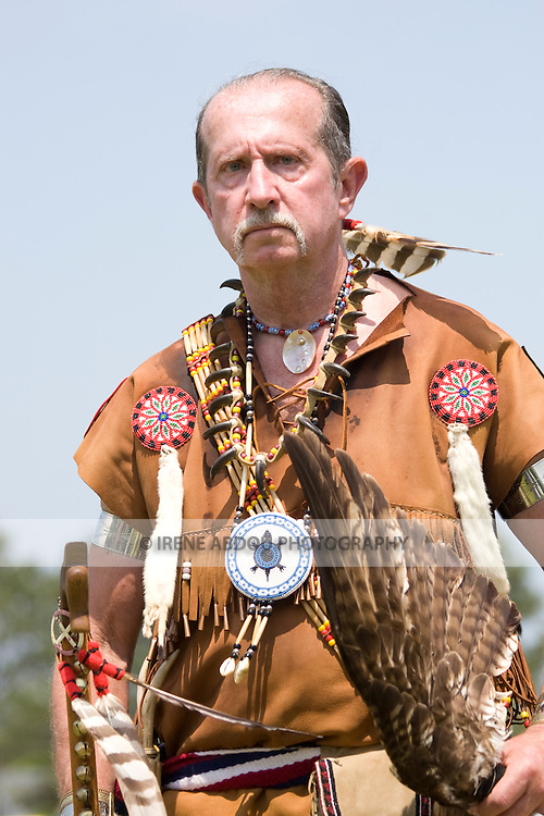 A Native American man dances in traditional regalia at the 8th Annual Red Wing PowWow in Virginia Beach, Virginia.