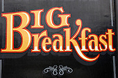 Ireland. Big Breakfast sign gold on black.