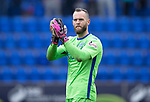 St Johnstone v Partick Thistle…13.05.17     SPFL    McDiarmid Park<br />Alan Mannus applauds the fans at full time<br />Picture by Graeme Hart.<br />Copyright Perthshire Picture Agency<br />Tel: 01738 623350  Mobile: 07990 594431