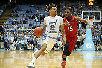 CHAPEL HILL, NC - NOVEMBER 01: Cole Anthony #2 of the University of North Carolina drives against James Rucker II #15 of Winston-Salem State University during a game between Winston-Salem State University and University of North Carolina at Dean E. Smith Center on November 01, 2019 in Chapel Hill, North Carolina.