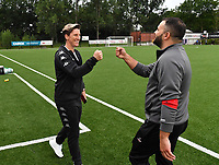 Head Coach Aline Zeler of Sporting Charleroi pictured with Head Coach Tiziano Rutilo of Woluwe during a female soccer game between Sporting Charleroi and White Star Woluwe on the first matchday in the 2021 - 2022 season of Belgian Scooore Womens Super League , friday 20 August 2021 in Marcinelle , Belgium . PHOTO SPORTPIX | DAVID CATRY