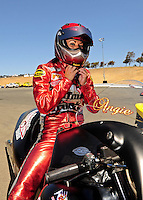 Jul. 17, 2010; Sonoma, CA, USA; NHRA pro stock motorcycle rider Angie Smith during qualifying for the Fram Autolite Nationals at Infineon Raceway. Mandatory Credit: Mark J. Rebilas-