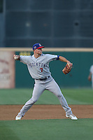 Matt Chapman (7) of the Stockton Ports makes a throw during a game against the Rancho Cucamonga Quakes at LoanMart Field on June 13, 2015 in Rancho Cucamonga, California. Stockton defeated Rancho Cucamonga, 14-2. (Larry Goren/Four Seam Images)