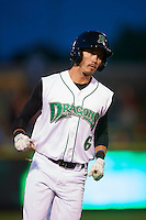 Dayton Dragons outfielder Nick Benedetto (6) runs the bases after hitting a home run during a game against the Great Lakes Loons on May 21, 2015 at Fifth Third Field in Dayton, Ohio.  Great Lakes defeated Dayton 4-3.  (Mike Janes/Four Seam Images)