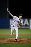Mahoning Valley Scrappers pitcher Liam Jenkins (45) during a NY-Penn League game against the State College Spikes on August 29, 2019 at Eastwood Field in Niles, Ohio.  State College defeated Mahoning Valley 8-1.  (Mike Janes/Four Seam Images)