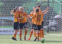 KVM players celebrate the goal of Shayna Raekelboom (13) of Yellow Red KV Mechelen during soccer game between Yellow Red KV Mechelen Women and KRC Genk during Belgian Women's National Division 1 match  on day 2 of 2021-2022 season, on Saturday 4th of September  2021 in Mechelen , Belgium . PHOTO SEVIL OKTEM | SPORTPIX
