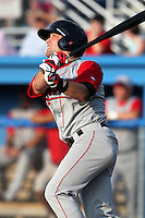 Lowell Spinners Outfielder Bryce Brentz (14) during a game vs. the Batavia Muckdogs at Dwyer Stadium in Batavia, New York July 14, 2010.   Batavia defeated Lowell 12-2.  Photo By Mike Janes/Four Seam Images