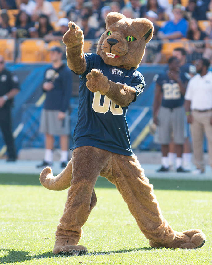 The Pitt Panther mascot performs during a break. The Akron Zips Defeated the Pitt Panthers 21-10 at Heinz Field, Pittsburgh. Pennsylvania on September 27, 2014.