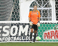 Hope Solo #1 of St. Louis Athletica after being beaten on a soft goal during a WPS match against the Washington Freedom  on May 1 2010, at RFK Stadium, in Washington D.C.Freedom won 3-1.