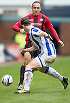 Kilmarnock v St Johnstone...05.04.14    SPFL<br /> Lee Croft is blocked by Jeroen Tesselaar<br /> Picture by Graeme Hart.<br /> Copyright Perthshire Picture Agency<br /> Tel: 01738 623350  Mobile: 07990 594431