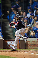 Cleveland Indians Carlos Santana (41) bats in the seventh inning during Game 4 of the Major League Baseball World Series against the Chicago Cubs on October 29, 2016 at Wrigley Field in Chicago, Illinois.  (Mike Janes/Four Seam Images)