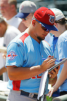 Tennessee Smokies catcher Kyle Schwarber (12) signing autographs before a game against the Jacksonville Suns at Bragan Field on the Baseball Grounds of Jacksonville on June 13, 2015 in Jacksonville, Florida.  Tennessee defeated Jacksonville 12-3. (Robert Gurganus/Four Seam Images)