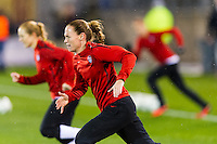 Christie Rampone (3) of the United States (USA) during warmups prior to playing Germany (GER). The United States (USA) and Germany (GER) played to a 2-2 tie during an international friendly at Rentschler Field in East Hartford, CT, on October 23, 2012.