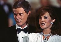 "Larry Hagman and Linda Gray as J.R. and Sue Ellen Ewing, ""Dallas,"" TV Show, 1980. Photo by John G. Zimmerman."