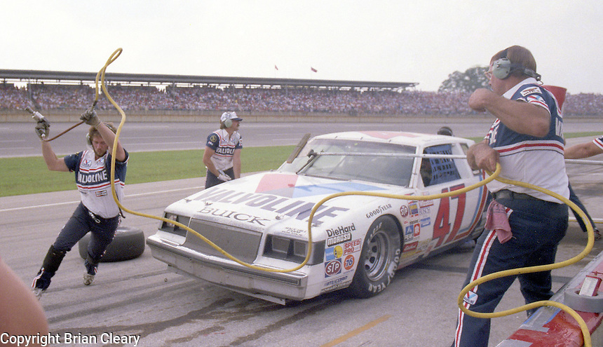 Ron Bouchard pits pit stop 28th place finish Winston 500 at Alabama International Motor Speedway in Talladega , AL on May 5, 1985. (Photo by Brian Cleary/www.bcpix.com)