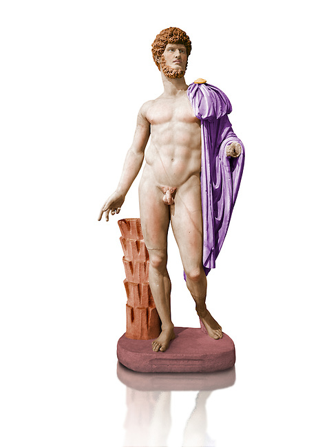 Painted colour verion of Roman marble sculpture bust of Lucius Verus with the body of Diomedes, Cuma Munich Type, 160-170 AD, inv 6095,  Museum of Archaeology, Italy