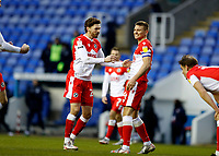 13th February 2021; Madejski Stadium, Reading, Berkshire, England; English Football League Championship Football, Reading versus Millwall; George Evans of Millwall and Shaun Hutchinson of Millwall celebrate their win after the final whistle