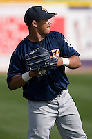 Jose Tabata (57) of the Trenton Thunder does some throwing prior to batting practice at Dodd Stadium in Norwich, CT, Tuesday, June 3, 2008.