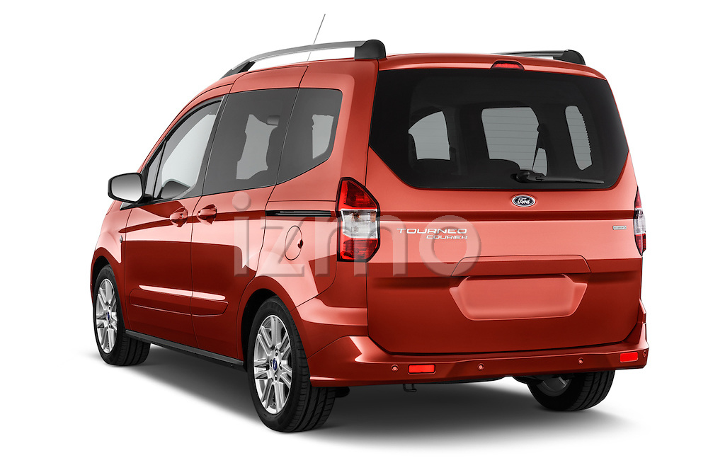 Car pictures of rear three quarter view of a 2015 Ford Tourneo Courier Titanium 5 Door Minimpv Angular Rear