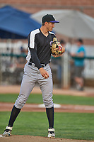 Grand Junction Rockies starting pitcher Skyler Sylvester (34) looks for the sign against the Ogden Raptors at Lindquist Field on June 5, 2021 in Ogden, Utah. The Raptors defeated the Rockies 18-1. (Stephen Smith/Four Seam Images)