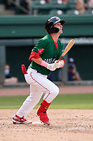 Third baseman Nick Sogard (11) of the Greenville Drive during a game against the Bowling Green Hot Rods on Sunday, May 9, 2021, at Fluor Field at the West End in Greenville, South Carolina. (Tom Priddy/Four Seam Images)