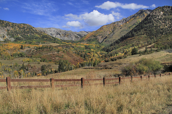 Fence along Last Dollar Road in San Juan Mountains, Telluride, Colorado.